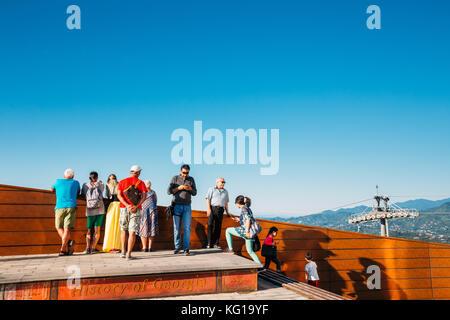 Batumi, Adjara, Georgia. People Walking On Viewing Platform. Argo Cable Car - Top Station. - Stock Photo