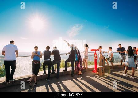 Batumi, Adjara, Georgia. People Walking And Taking Photo On Viewing Platform. Argo Cable Car - Top Station. - Stock Photo