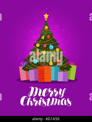 Merry Christmas, greeting card. Decorated xmas tree and gifts. Vector illustration - Stock Photo