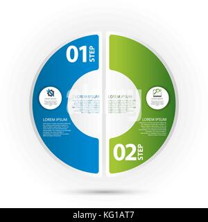 Modern vector illustration 3d. Template of circular infographics with two elements, sectors and percentages. Designed - Stock Photo