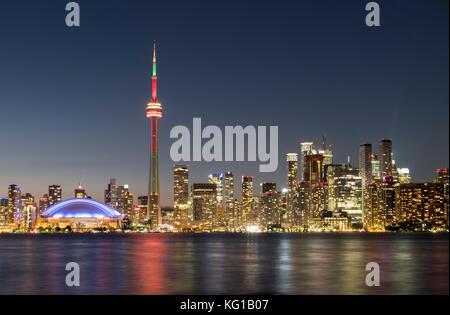 Toronto Skyline featuring the CN Tower at night, from Toronto Island, Toronto, Ontario, Canada