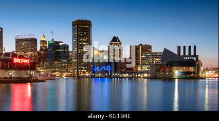 Baltimore Inner Harbour and city skyline at night, Baltimore, Maryland, USA - Stock Photo