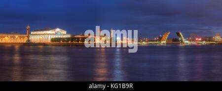 Night panoramic view on illumunated open Birzhevoy Bridge, Neva River and Old Stock Exchange, St. Petersburg, Russia - Stock Photo