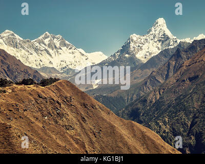 Retro stylized picture of Ama Dablam Mountain in the Everest Region of the Himalayas, Nepal.