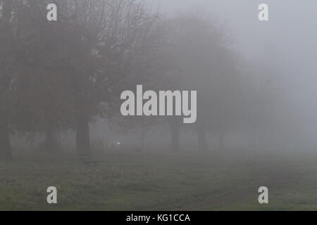 London, UK. 2nd Nov, 2017. Trees covered in thick morning fog on Wimbledon Common Credit: amer ghazzal/Alamy Live - Stock Photo