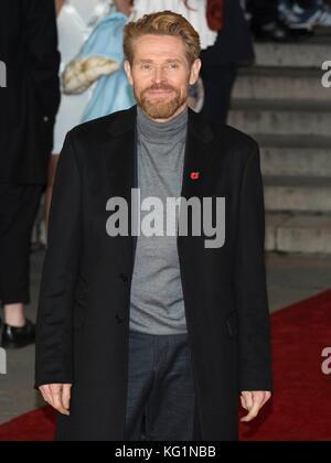 London, UK. 02nd Nov, 2017. Willem Defoe attends Murder On The Orient Express World Premiere - London, England (02/11/2017) | usage worldwide Credit: dpa picture alliance/Alamy Live News