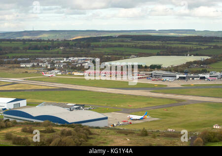 An aerial view of Leeds Bradford Airport in Yorkshire. - Stock Photo
