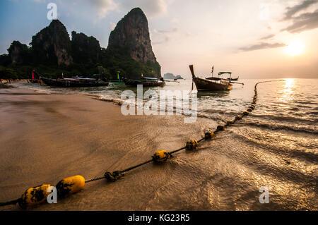 Sunset at Ao Phra Nang Bay, Railay Beach, Tonsay Beach, Krabi Province, Thailand, Southeast Asia, Asia - Stock Photo