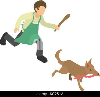 Dog thief icon, isometric 3d style - Stock Photo
