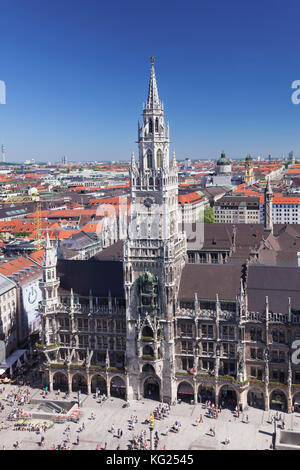 Marienplatz Square with town hall (Neues Rathaus), Munich, Bavaria, Germany, Europe - Stock Photo