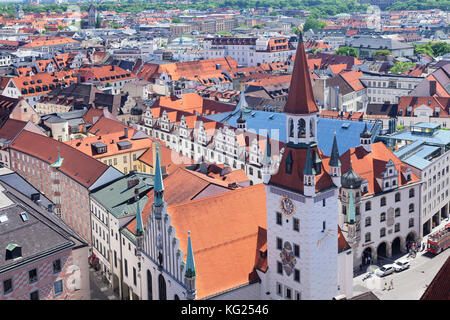 Old town hall (Altes Rathaus) at Marienplatz Square, Munich, Bavaria, Germany, Europe - Stock Photo