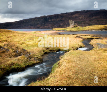 Ardvreck Castle, Sutherland, Highlands, Scotland, United Kingdom, Europe - Stock Photo