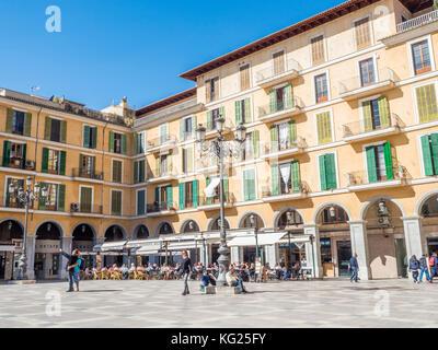 A city plaza, Palma, Mallorca, Balearic Islands, Spain, Mediterranean, Europe - Stock Photo