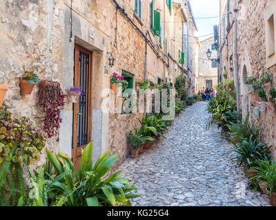 Street with flowers, Valdemossa, Mallorca, Balearic Islands, Spain, Mediterranean, Europe - Stock Photo