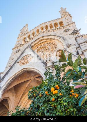 Church and orange trees, Soller, Mallorca, Balearic Islands, Spain, Mediterranean, Europe - Stock Photo