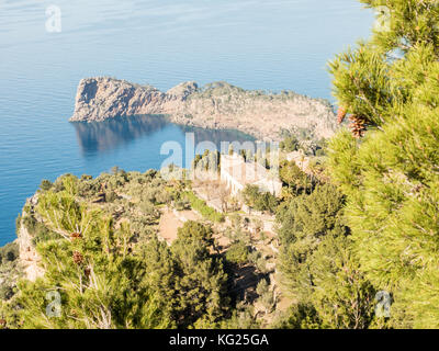 Coastline near Valdemossa, Mallorca, Balearic Islands, Spain, Mediterranean, Europe - Stock Photo