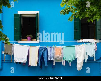 Washing on the line, Burano, Venice, Veneto, Italy, Europe - Stock Photo