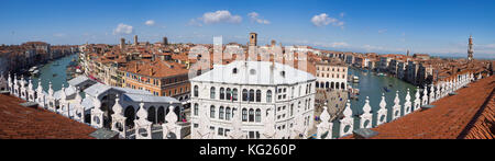Panoramic view of the Grand Canal from the terrace of the Fondaco dei Tedeschi, Venice, UNESCO World Heritage Site, - Stock Photo