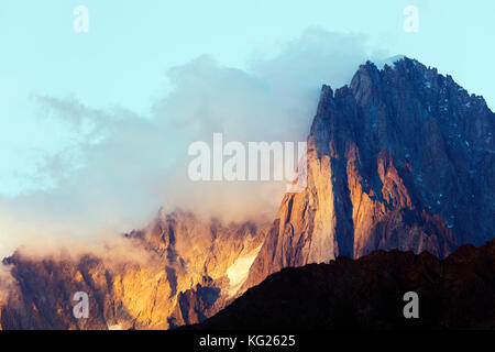 Les Drus and Aiguille Verte, 4122m, Chamonix, Rhone Alpes, Haute Savoie, France, Europe - Stock Photo