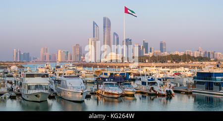 Modern city skyline and Marina, Abu Dhabi, United Arab Emirates, Middle East - Stock Photo