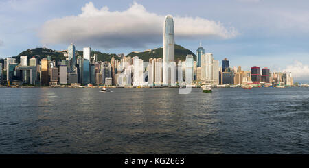 Hong Kong skyline seen from the Kowloon Side of the Harbour, Hong Kong, China, Asia - Stock Photo