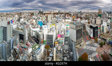 Elevated view over Shibuya Ward towards the Shinjuku skyline, Tokyo, Japan, Asia - Stock Photo