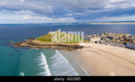 Porthmeor beach, St. Ives, Cornwall, England, United Kingdom, Europe - Stock Photo