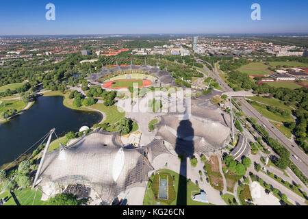 View from Olympic Tower (Olympiaturm) at Olympic stadium at Olympic Park, Munich, Bavaria, Germany, Europe - Stock Photo