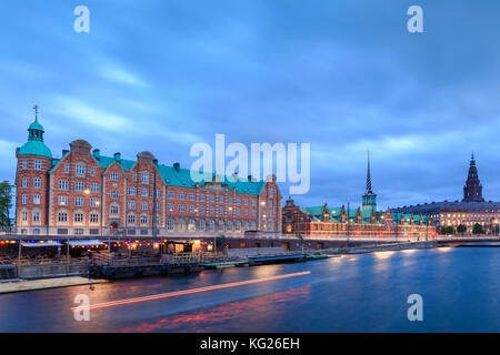 The Church of Holmen and the House of Parliament, Christiansborg Palace in central Copenhagen, Denmark, Europe - Stock Photo