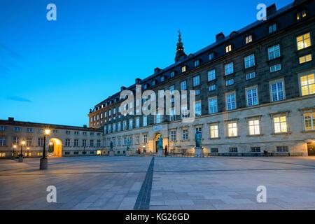Christiansborg Palace at night, Copenhagen, Denmark, Europe - Stock Photo