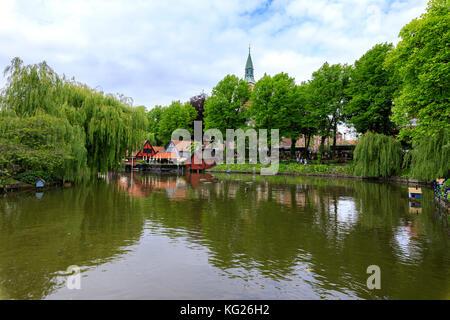 Dragon Boat Lake, Tivoli Gardens, Copenhagen, Denmark, Europe - Stock Photo