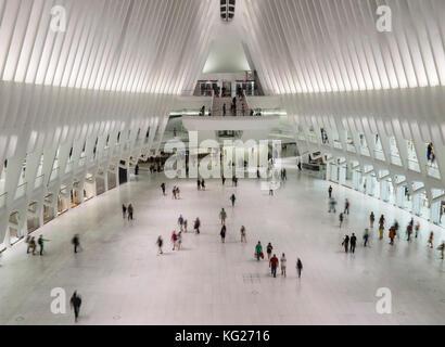 Calatrava's World Trade Center Oculus Shopping Mall, New York, United States of America, North America - Stock Photo