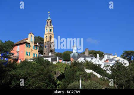 Portmeirion Village, Gwynedd, North Wales, Wales, United Kingdom, Europe - Stock Photo