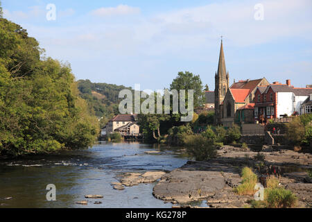 Llangollen, Dee River, Dee Valley, Denbighshire, North Wales, Wales, United Kingdom, Europe - Stock Photo