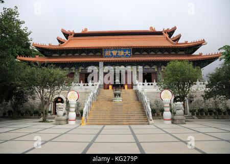The Main Shrine Hall of Buddha, Po Lin Monastery, Hong Kong, China, Asia - Stock Photo