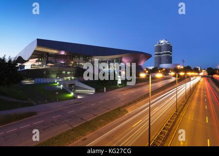 BMW Welt with BMW building and BMW Museum, Olympiazentrum, Mittleren Ring, Munich, Bavaria, Germany, Europe - Stock Photo