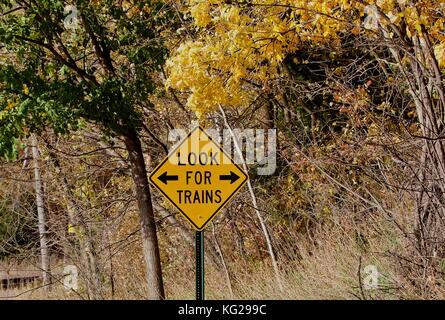 Look for trains warning sign - Stock Photo