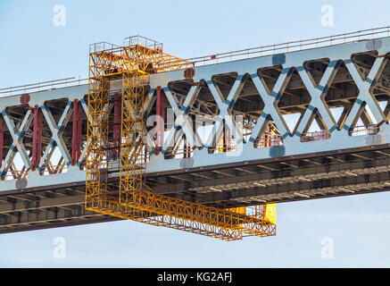 Construction of the Western High-Speed Diameter on the background of blue clear sky - Stock Photo