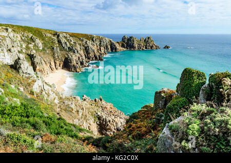 isolated beach at pedn vounder near porthcurno in cornwall, england, britain, uk. - Stock Photo