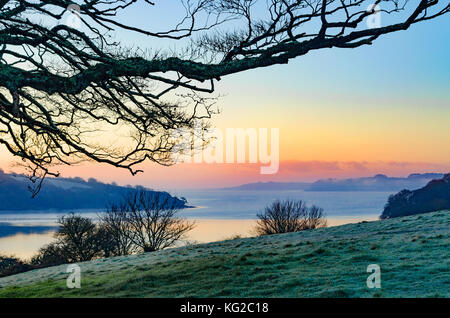 view towards the carrick roads on the river fal near truro in cornwall, england, britain, uk. - Stock Photo