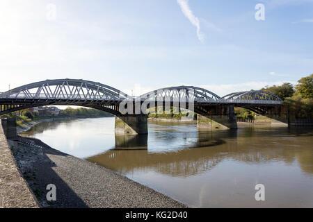 Barnes Bridge across River Thames, Barnes, London Borough of Richmond upon Thames, Greater London, England, United Kingdom