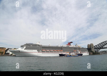 Carnival Legend cruise liner docked at the Overseas Passenger Terminal in Sydney, Australia. - Stock Photo