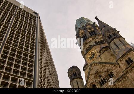 Kaiser Wilhelm Memorial Church, Breitscheidplatz, Berlin, Germany, - Stock Photo