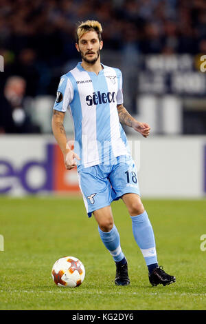 Rome, Italy. 02nd Nov, 2017. Luis Alberto of Lazio in action during their UEFA Europa League Group K soccer match - Stock Photo