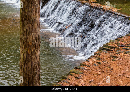 Spillway waterfall and the tree in the Lullwater Park, Atlanta, USA - Stock Photo