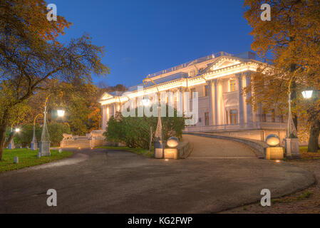 St. Petersburg, Russia - October 3, 2016: Night view of illuminated Yelagin Palace in autumn - Stock Photo