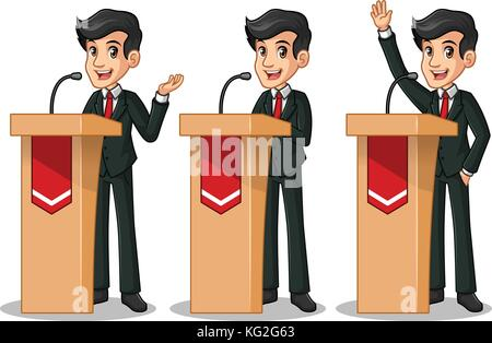 Set of businessman in black suit cartoon character design politician orator public speaker giving a talk speech - Stock Photo