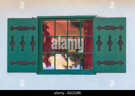 One window on the facade of the house in German style front view, Helen, USA - Stock Photo