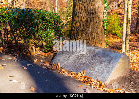 The memorial stone of Ernest Richardson in the Lullwater Park in sunny autumn day, Atlanta, USA - Stock Photo