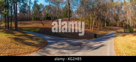 Panoramic view of the footpaths, hills and bare trees in the Lullwater Park, Atlanta, USA - Stock Photo
